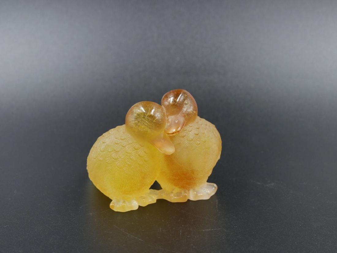 DAUM France, Paire de cannetons en pâte de cristal mord