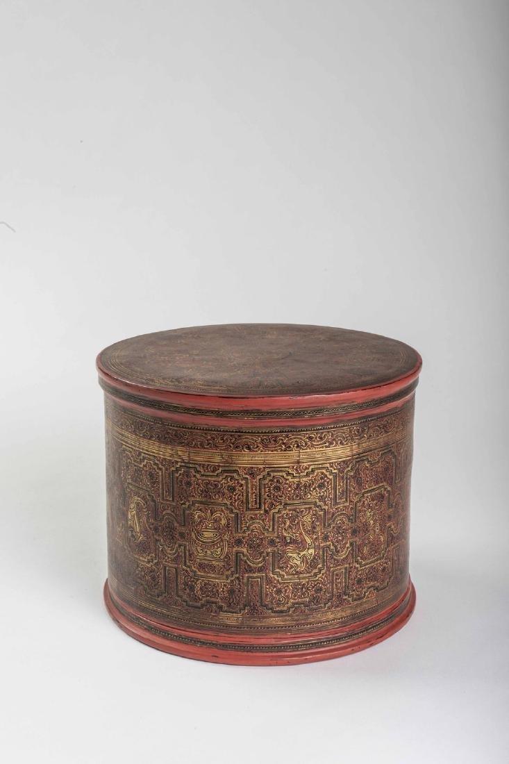 Boîtes à bétel ancienne en bambou, laque et dorure de