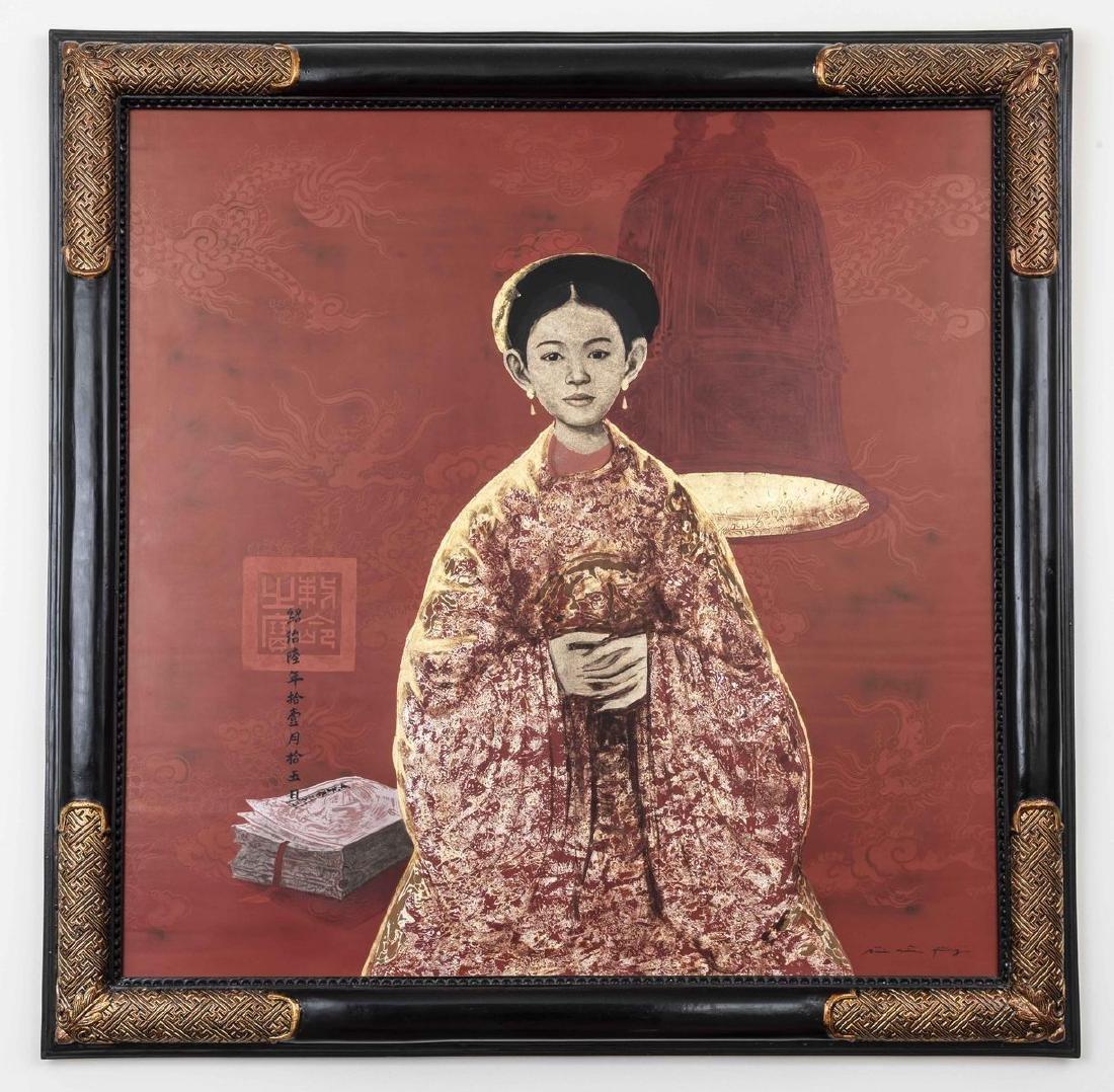 Bui HU HUNG (1957) - Femme a la méditation - Technique