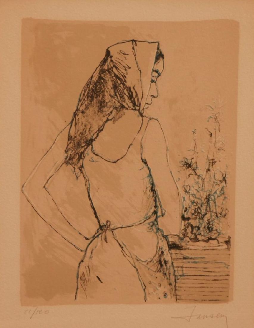 JANSEN (XX)- femme de dos - lithographie signée en bas