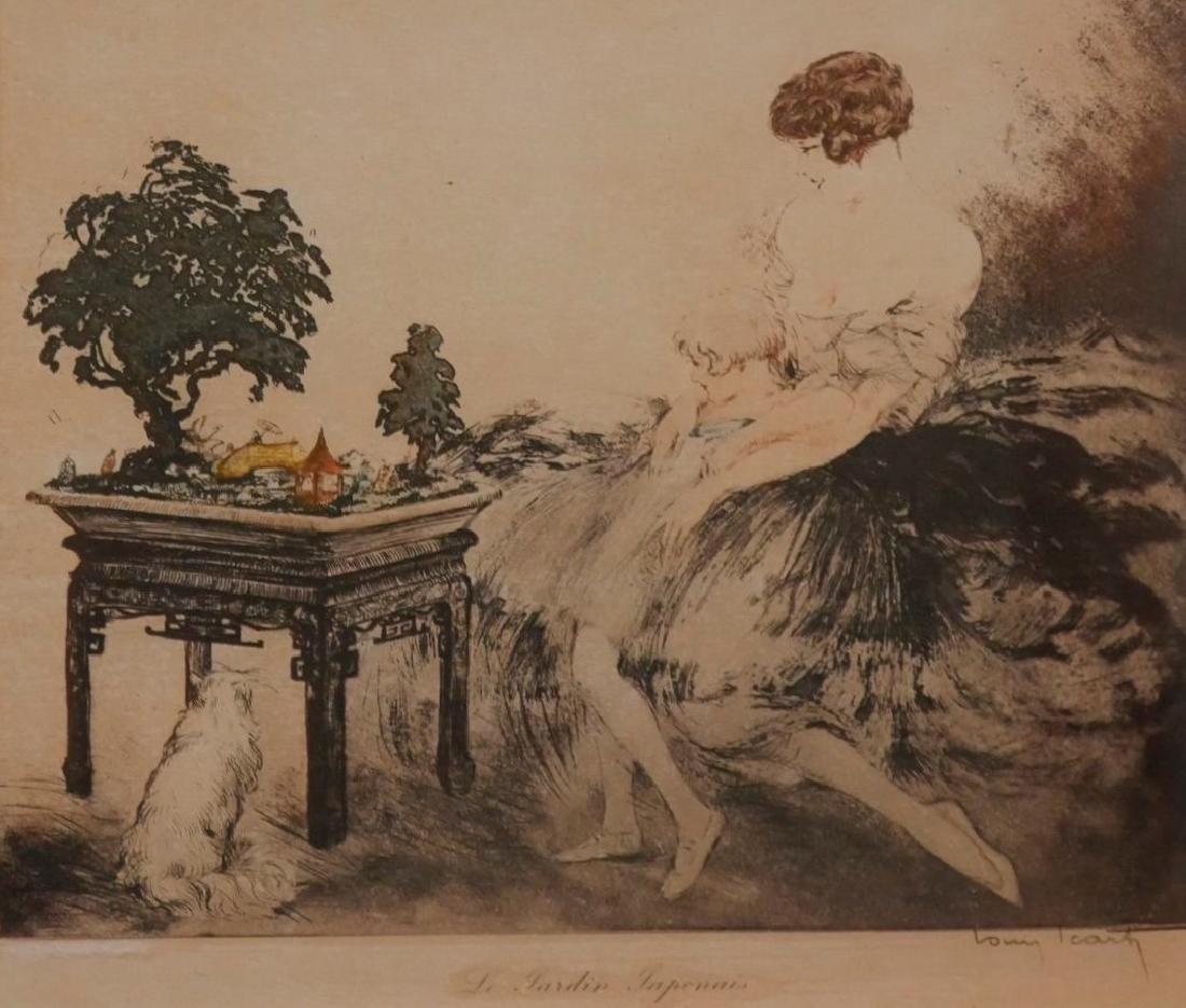 Louis ICART (1888-1950) - le jardin japonais - Eau fort