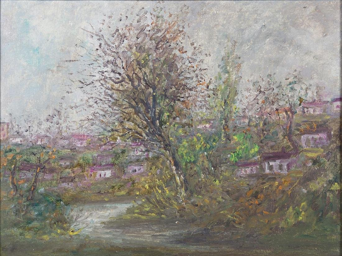 BARTOUK - Village verdoyant - Huile sur carton - 50 x 6