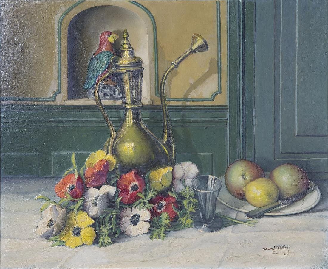 Aram STEPHAN (XX) - Nature morte au perroquet, -  Huile