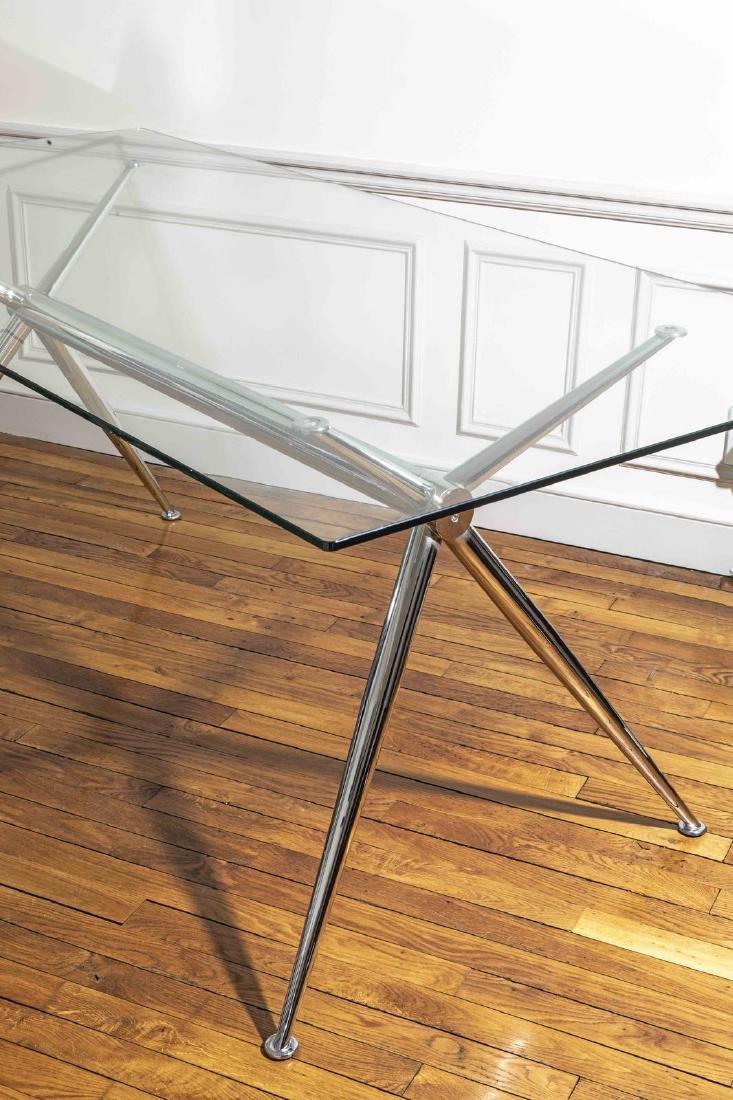 Bureau Design en métal à plateau de  verre - Piètement