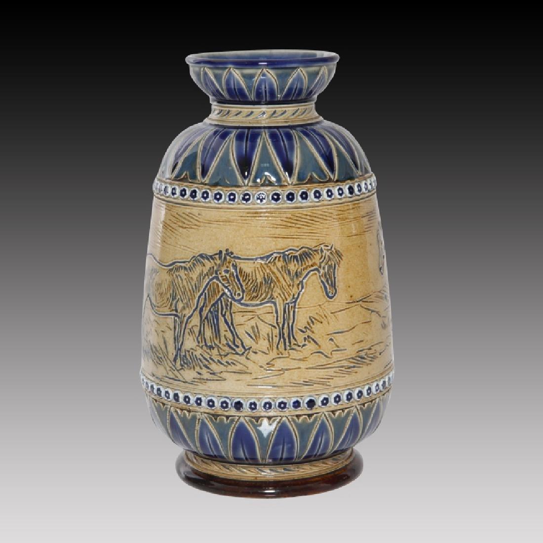 Doulton Lambeth Hannah Barlow Vase with Horses