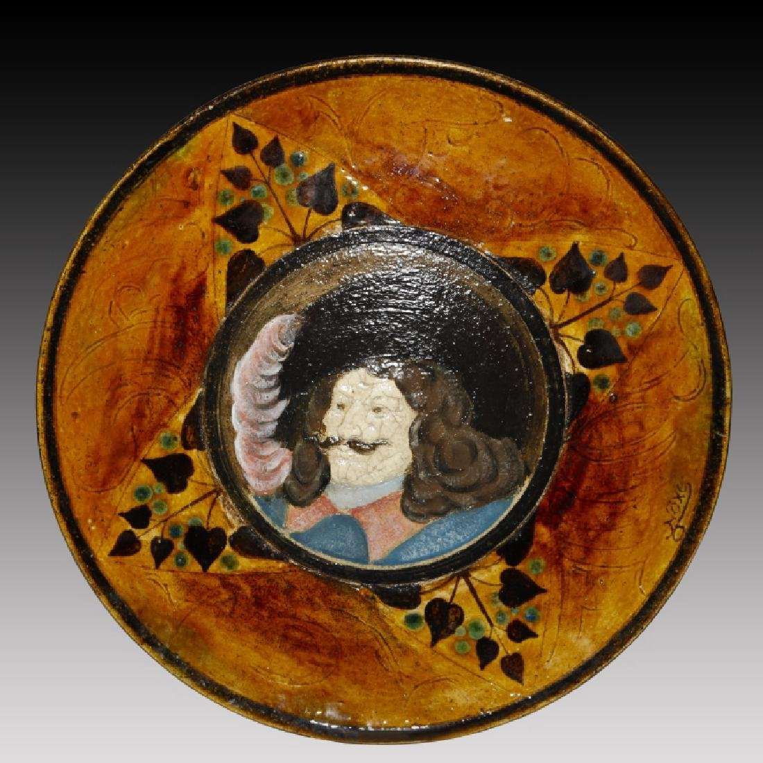 Doulton Plaque of Cavalier with Pink Feather