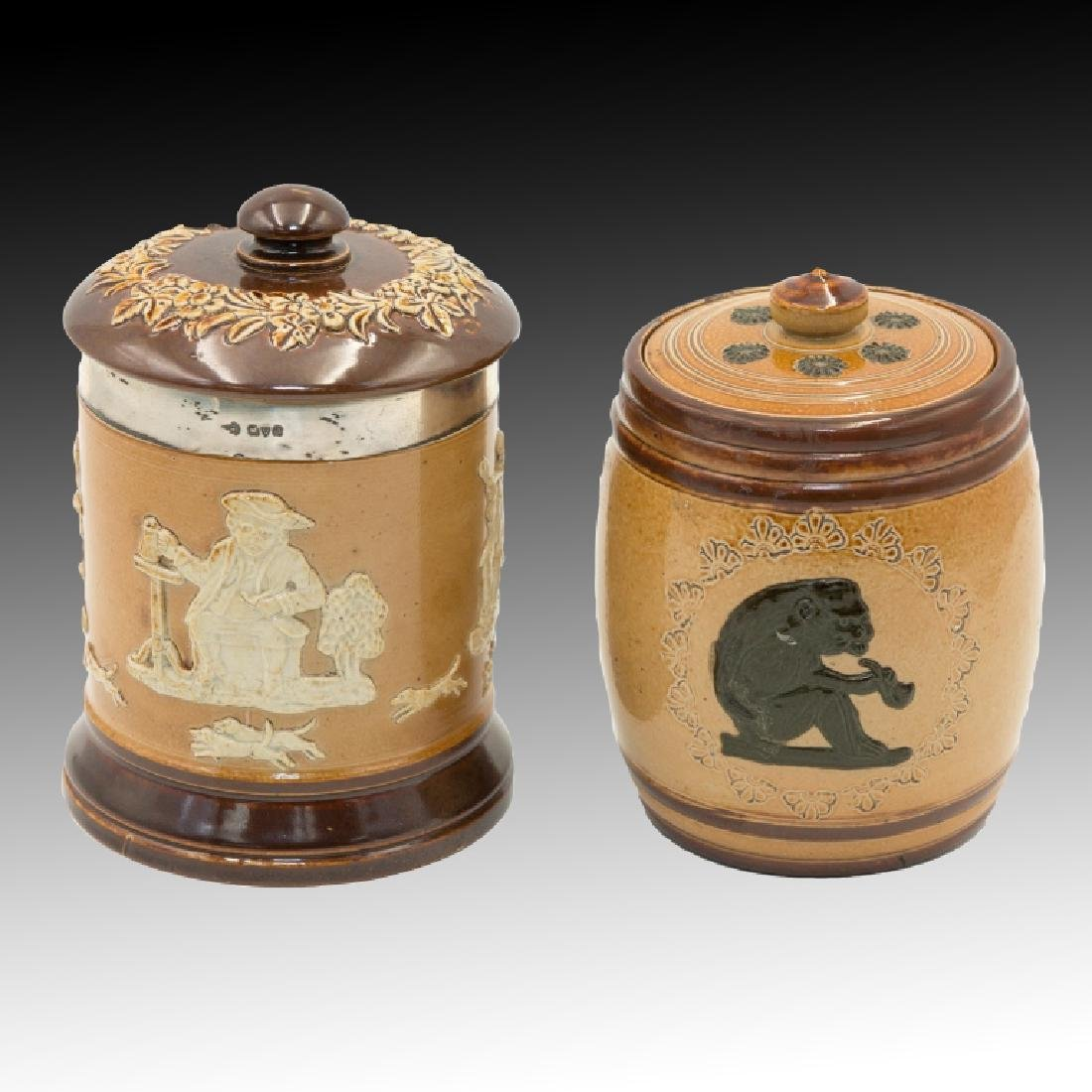 Royal Doulton 2 Stoneware Lidded Tobacco Jars