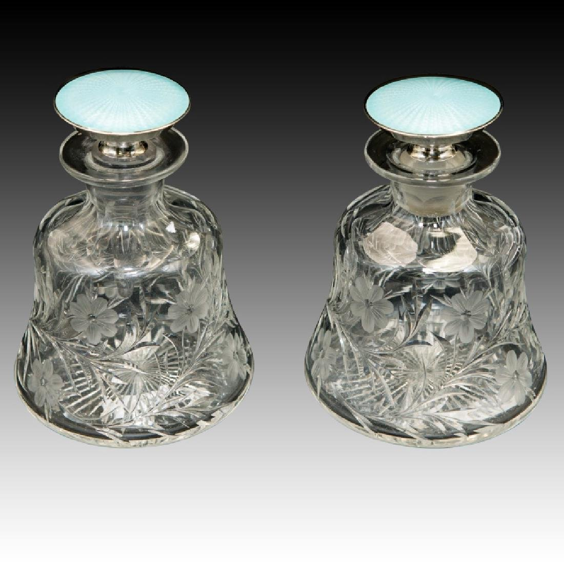 Large Pair of Guilloche Enamel and Silver/Crystal