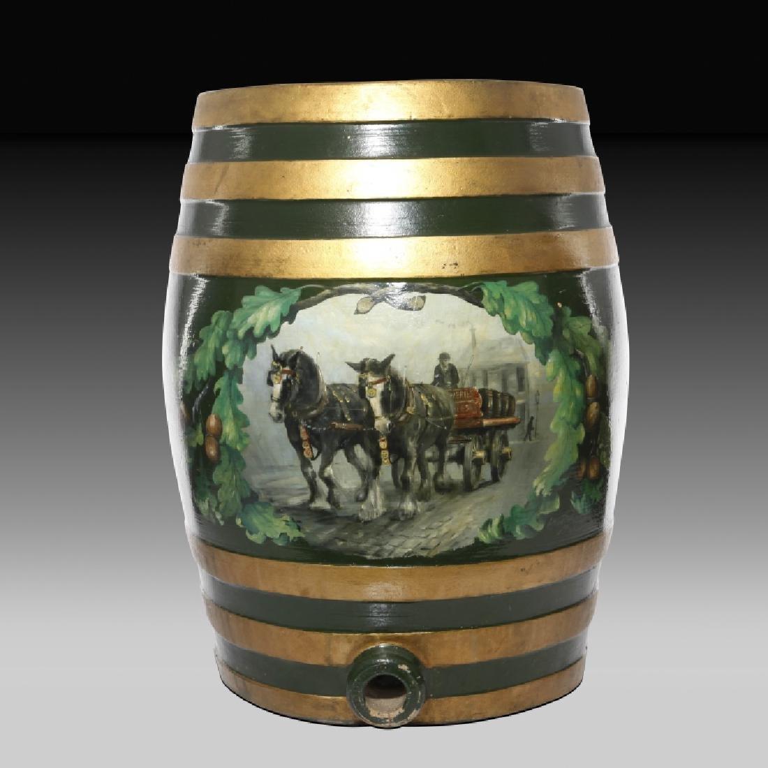 Doulton Lambeth Large Whiskey Barrel with Horses