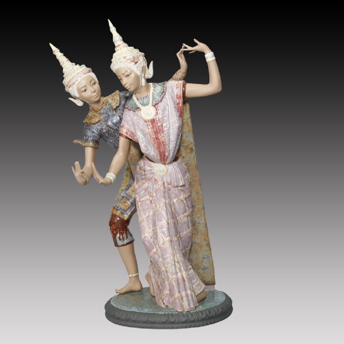 Lladro Large Figurine Thai Couple Dancers #2058