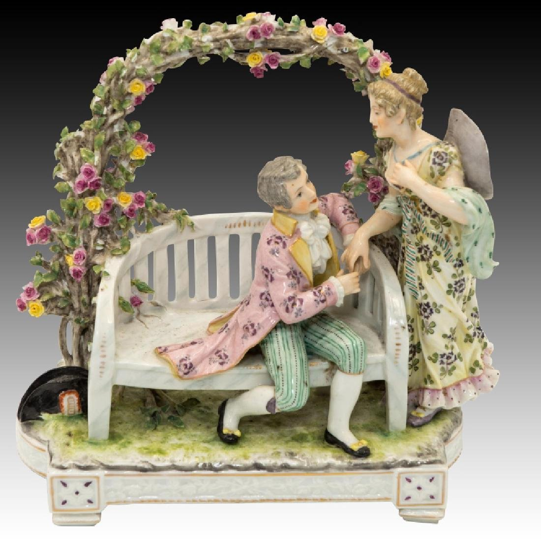 Man and Woman Courting Under Flowered Trellis