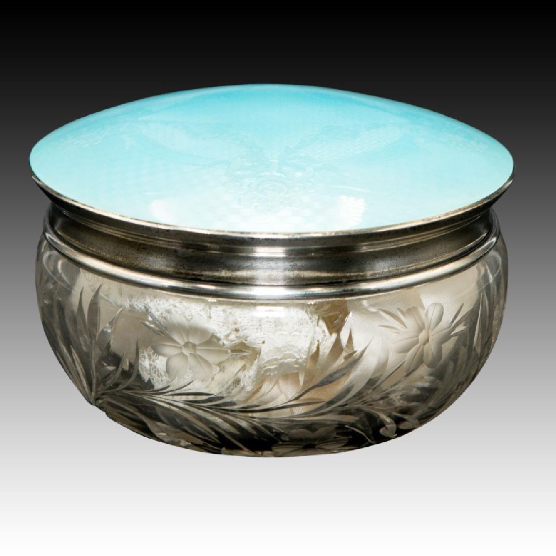 Large Blue Guilloche Enamel Powder Box