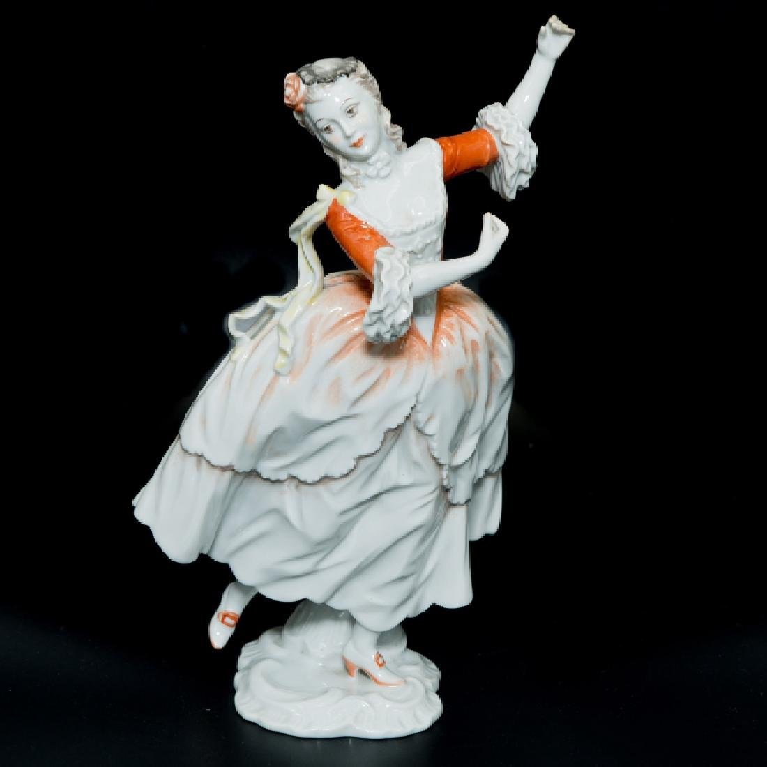 Rosenthal Rococo Girl Dancing Orange White Dress