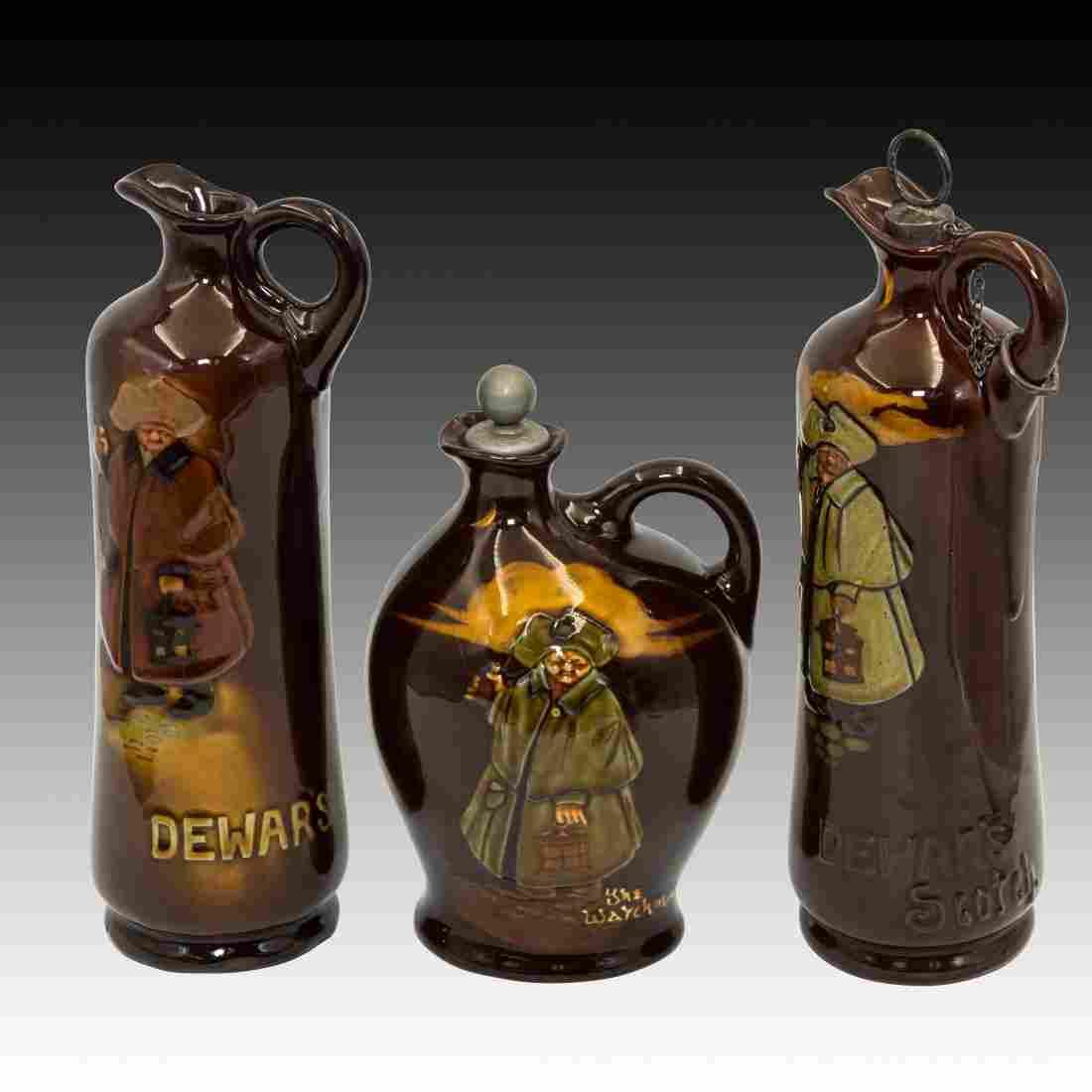 3 Royal Doulton Dewar's Kingsware Whiskey Flasks