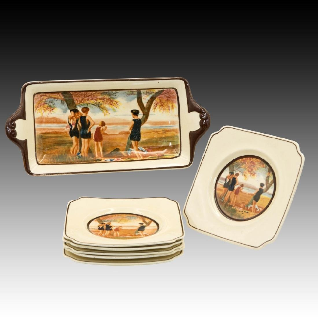 Royal Doulton Sandwich Set Surfing Design - 2