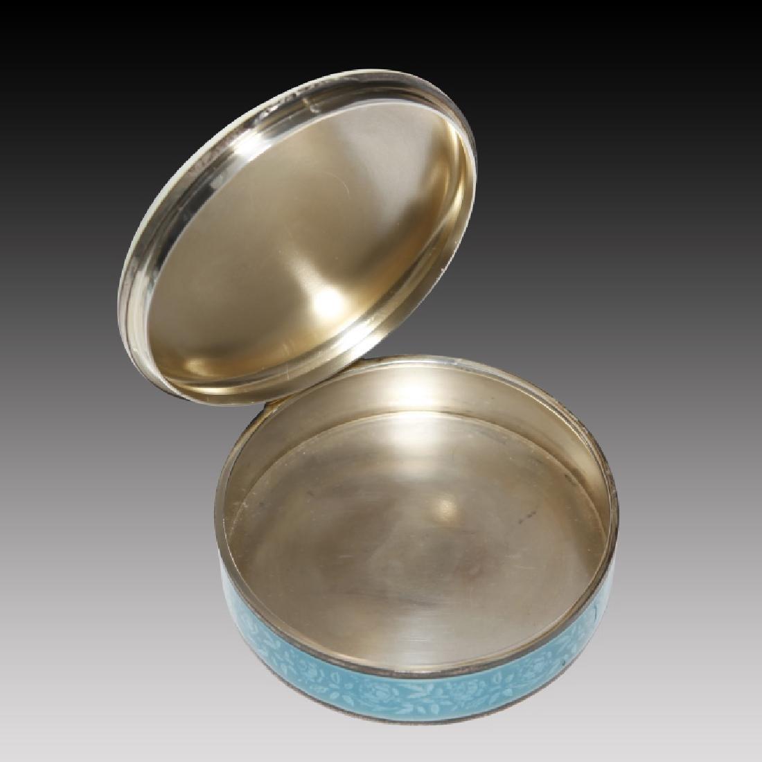 Guilloche round Enamel Sterling Silver Figural Box - 2