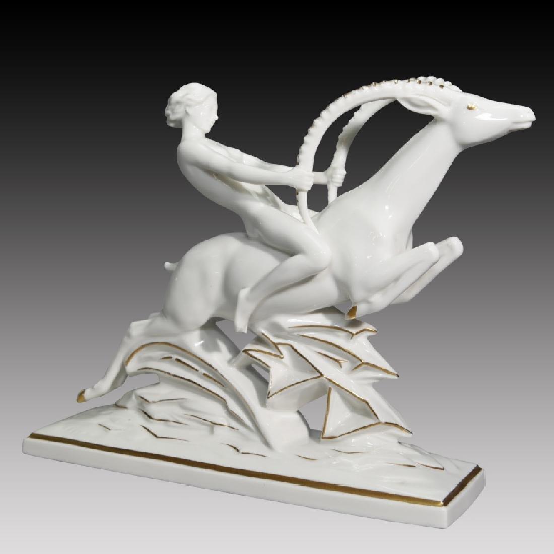 Hutschenreuther Art Deco Nude Woman Riding Gazelle