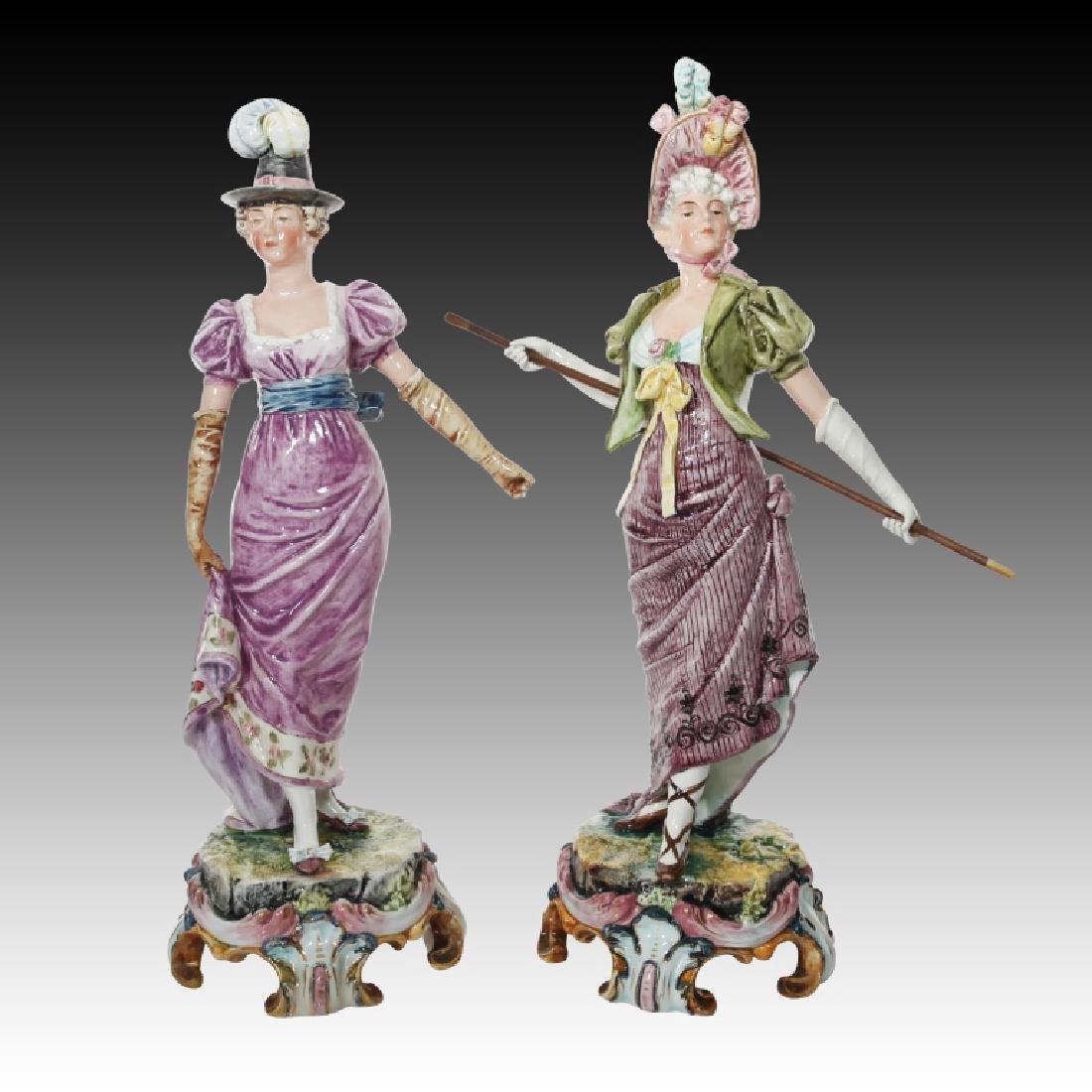 Majolica Figural Pair of Women in Regency Dress