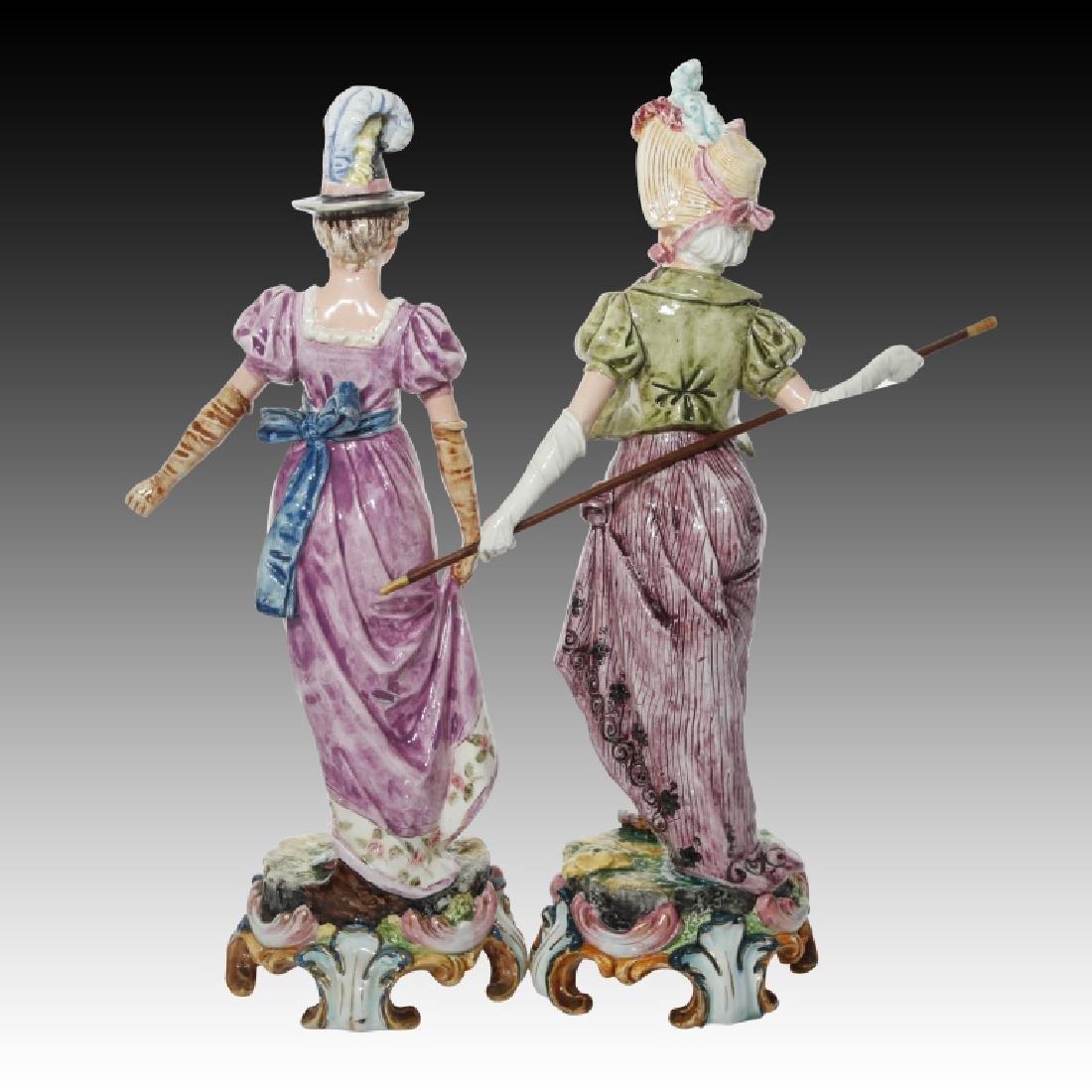 Majolica Figural Pair of Women in Regency Dress - 2