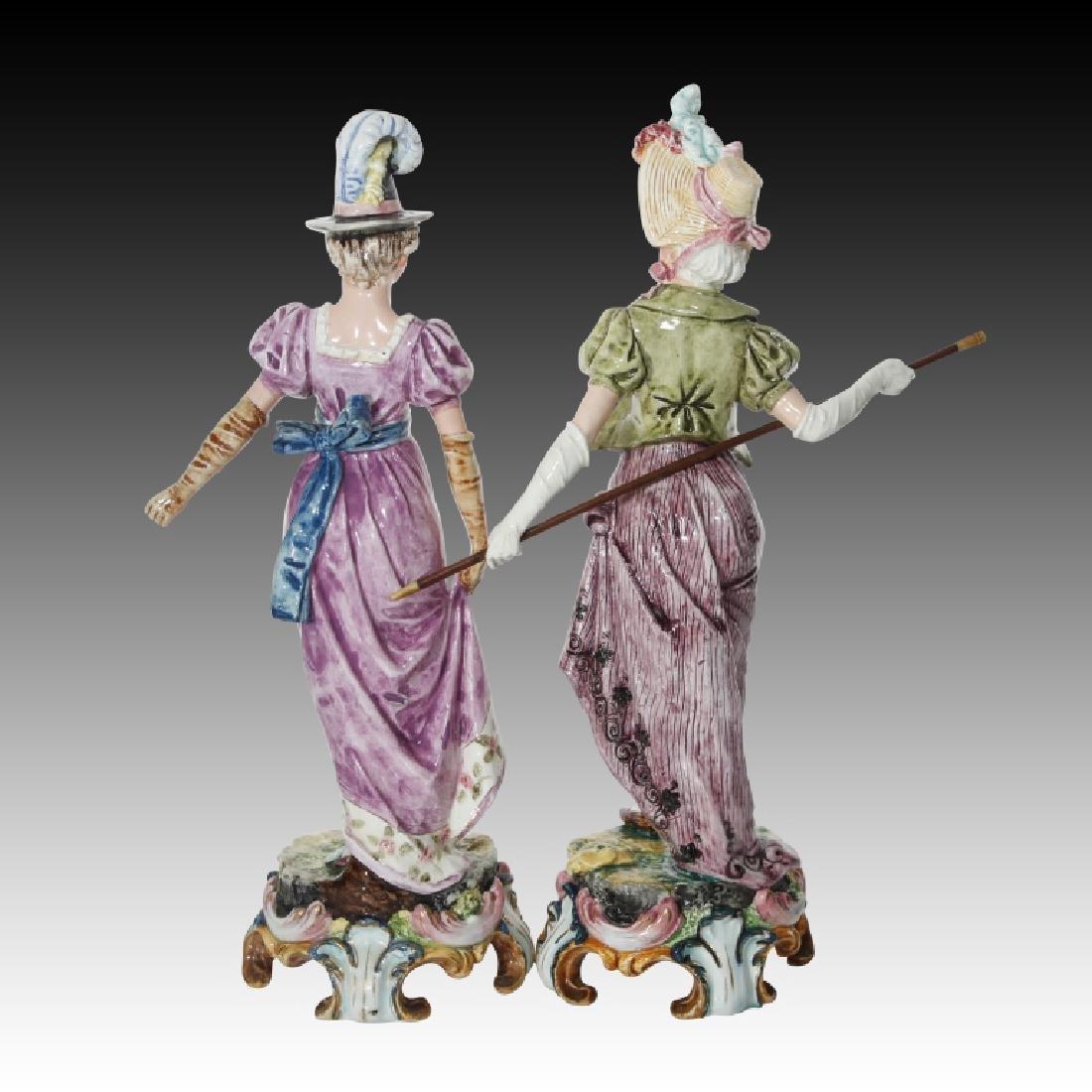Majolica Figural Pair of Women in Regency Dress - 3