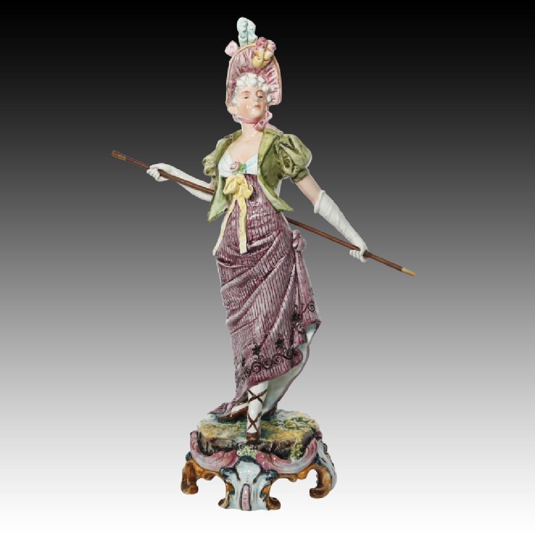 Majolica Figural Pair of Women in Regency Dress - 4