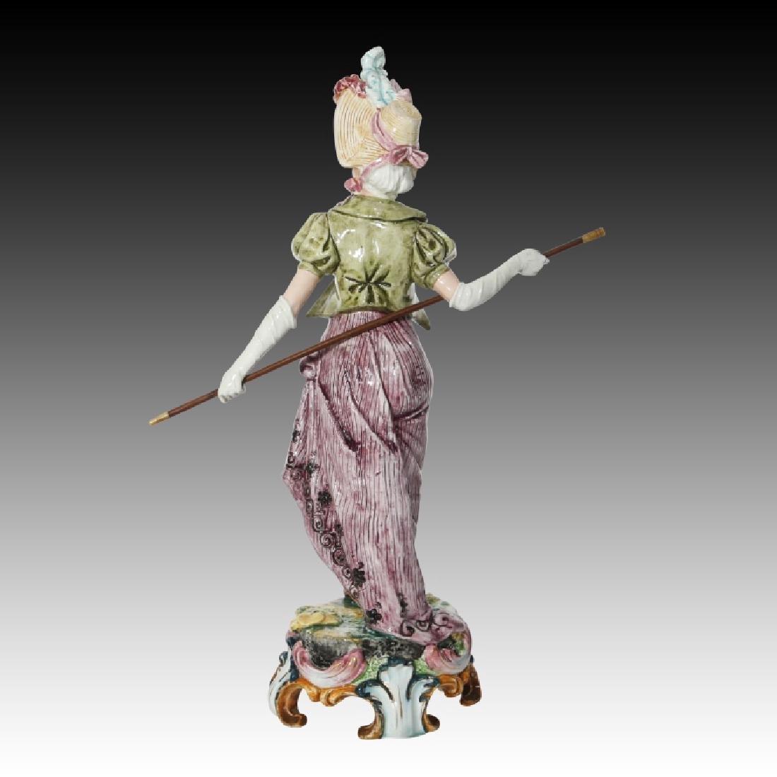 Majolica Figural Pair of Women in Regency Dress - 5