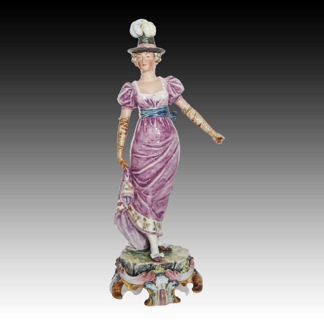 Majolica Figural Pair of Women in Regency Dress - 6