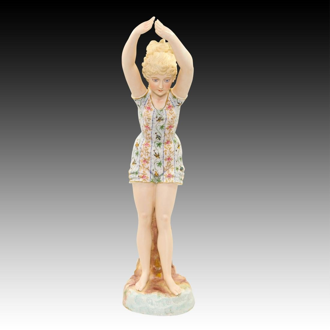Large German Figurine of a Woman about to Dive