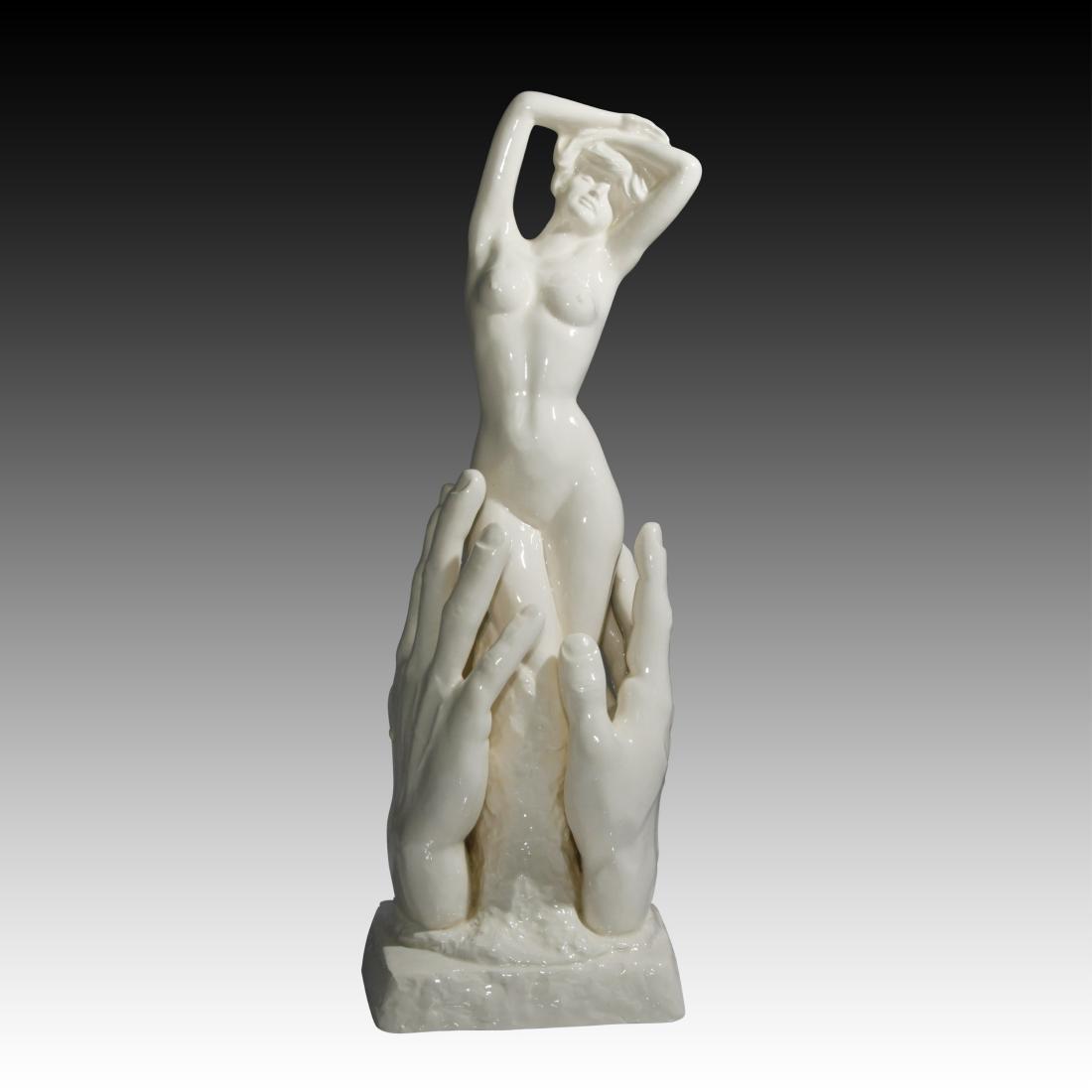 Nude Young Woman In Between Hands Figurine