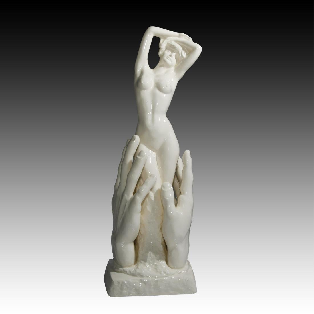 Nude Young Woman In Between Hands Figurine