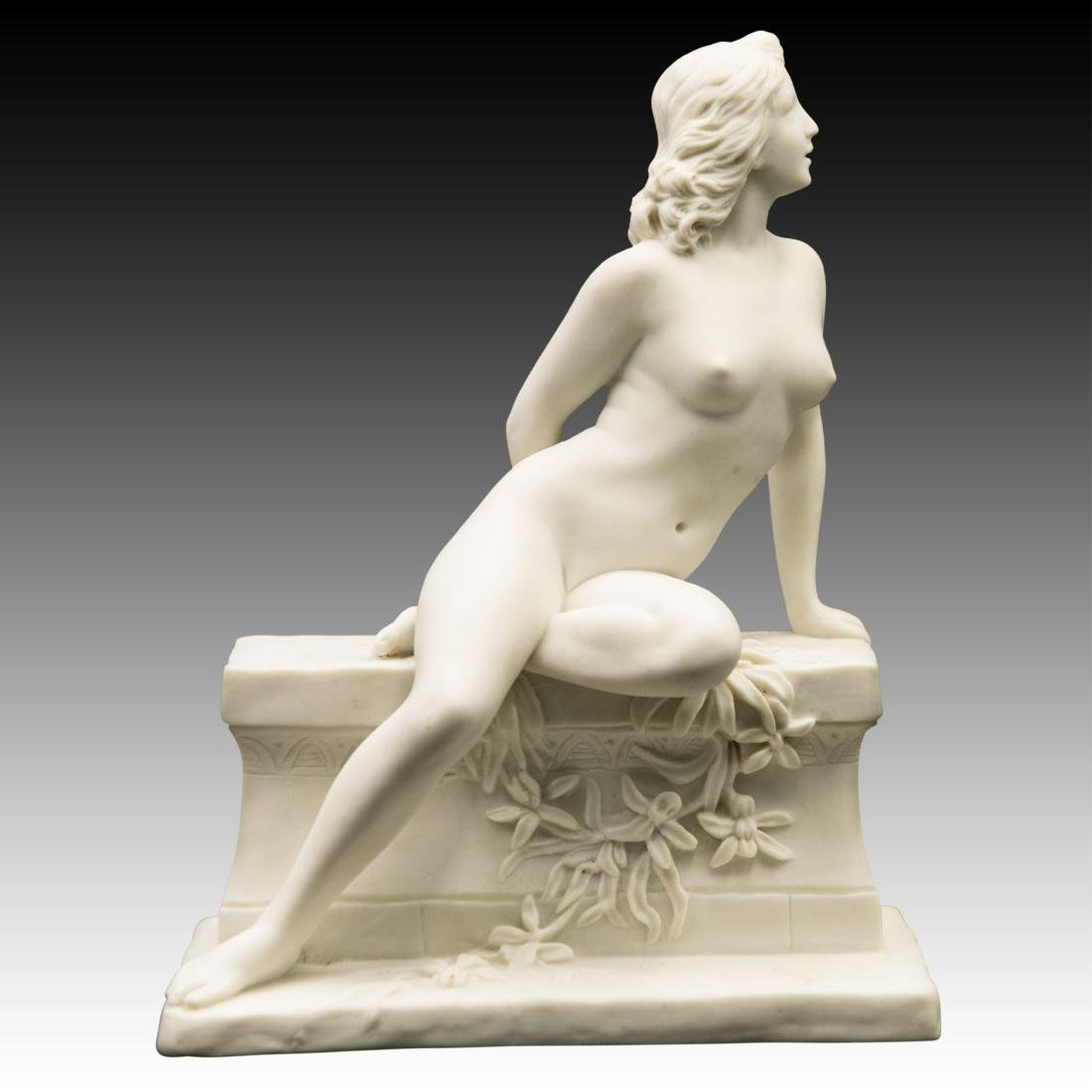 Young Nude woman Sitting on Marble Bench Figurine