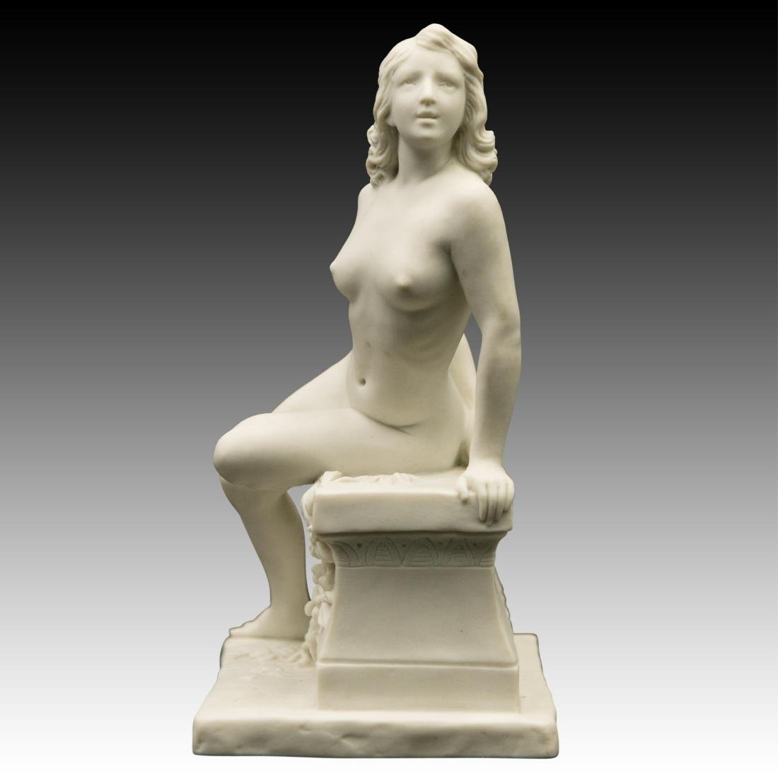 Young Nude woman Sitting on Marble Bench Figurine - 2