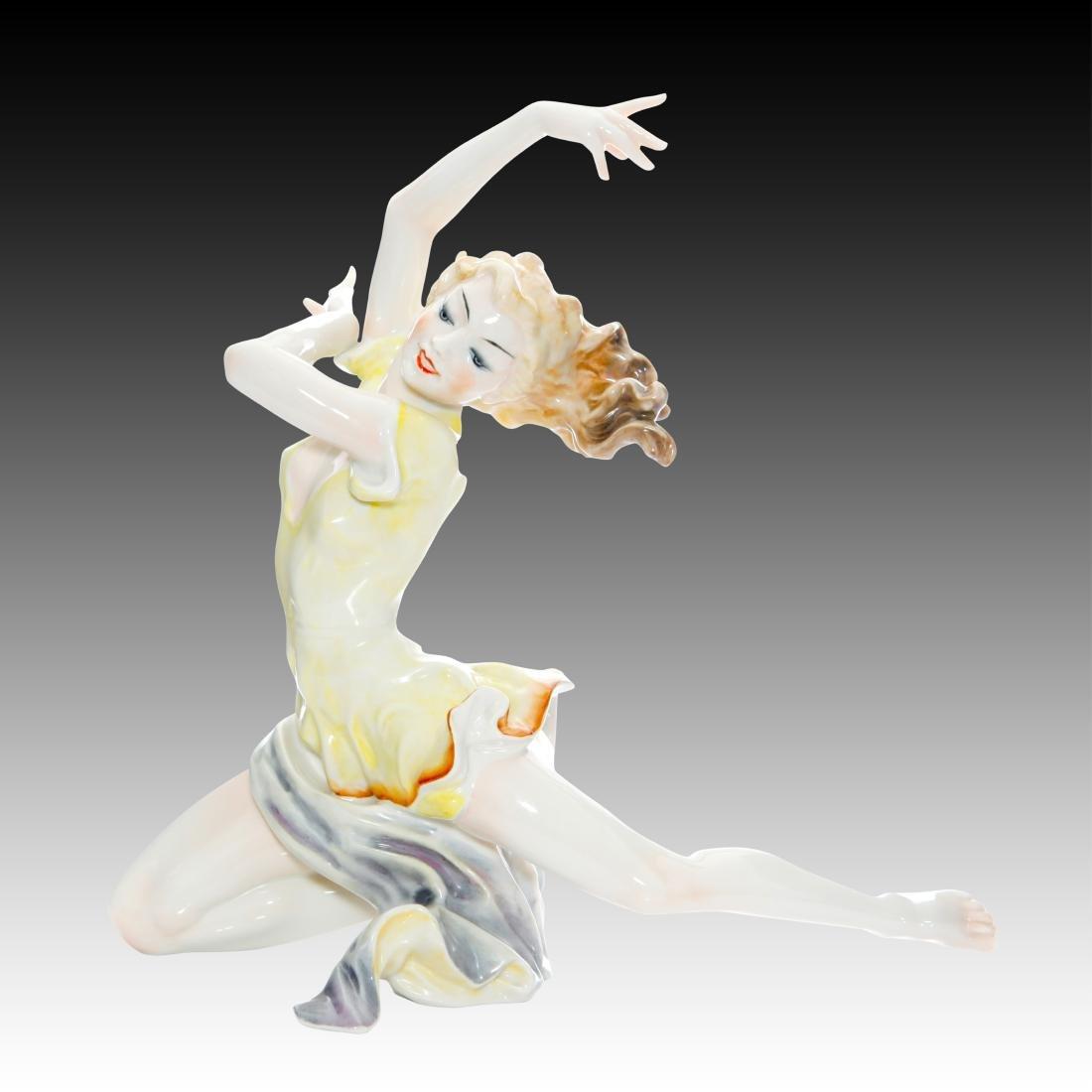 Hutschenreuther Art Deco Dancer in Yellow dress.