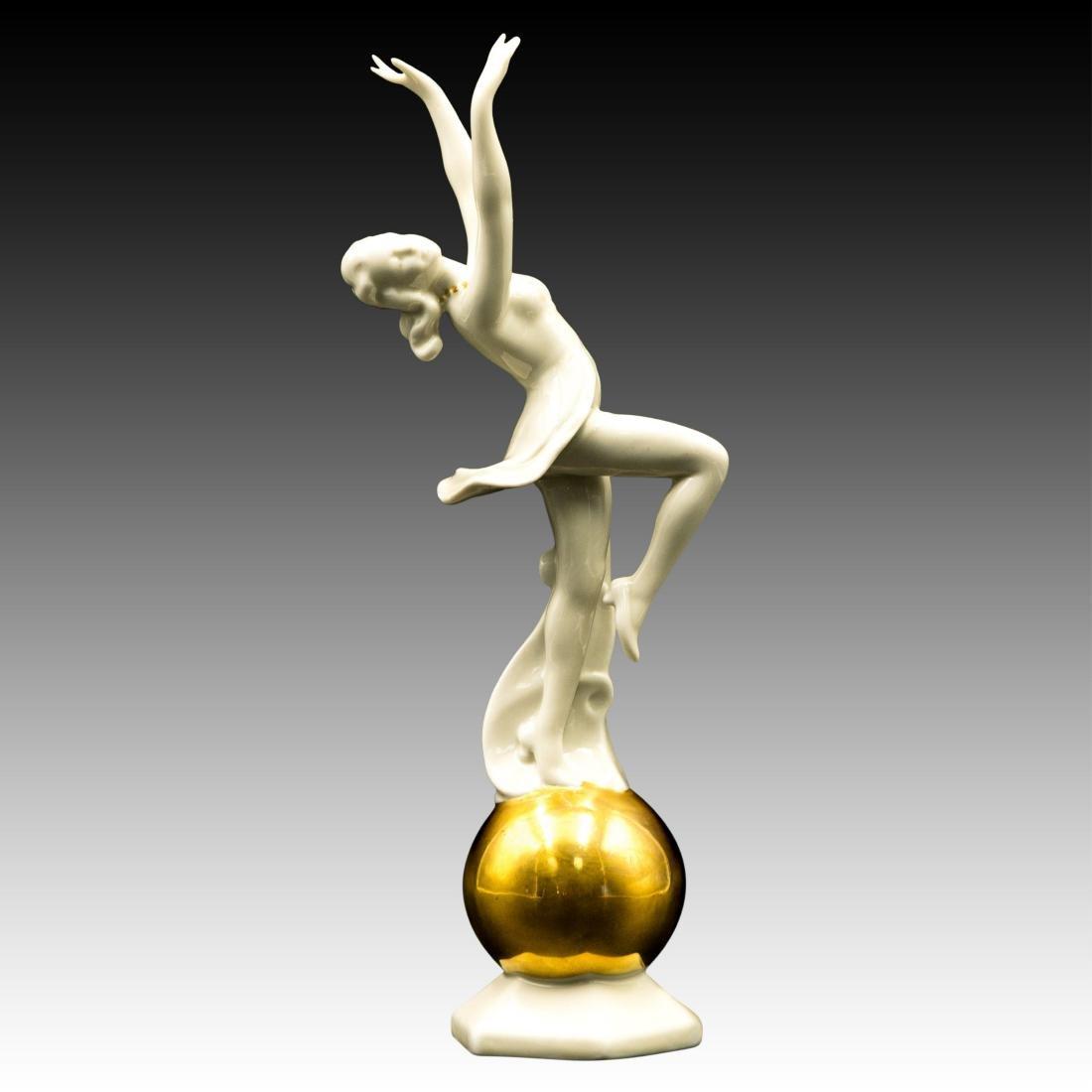 Art Deco Female Dancer on Golden Globe