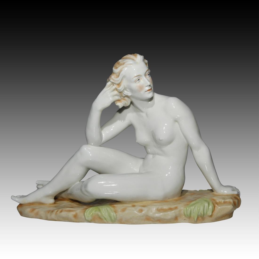 Nude Woman Sitting in a Field Figurine