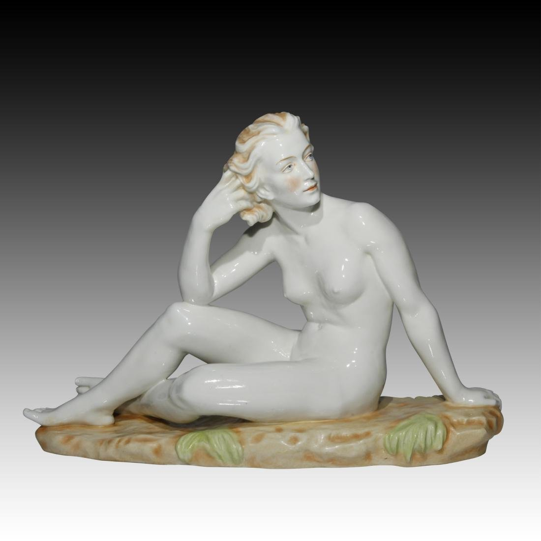 Nude Woman Sitting in a Field Figurine