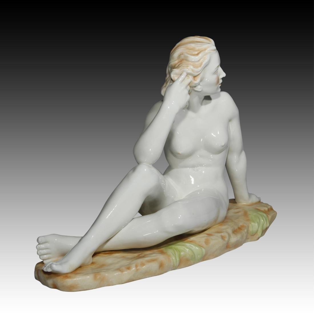 Nude Woman Sitting in a Field Figurine - 2