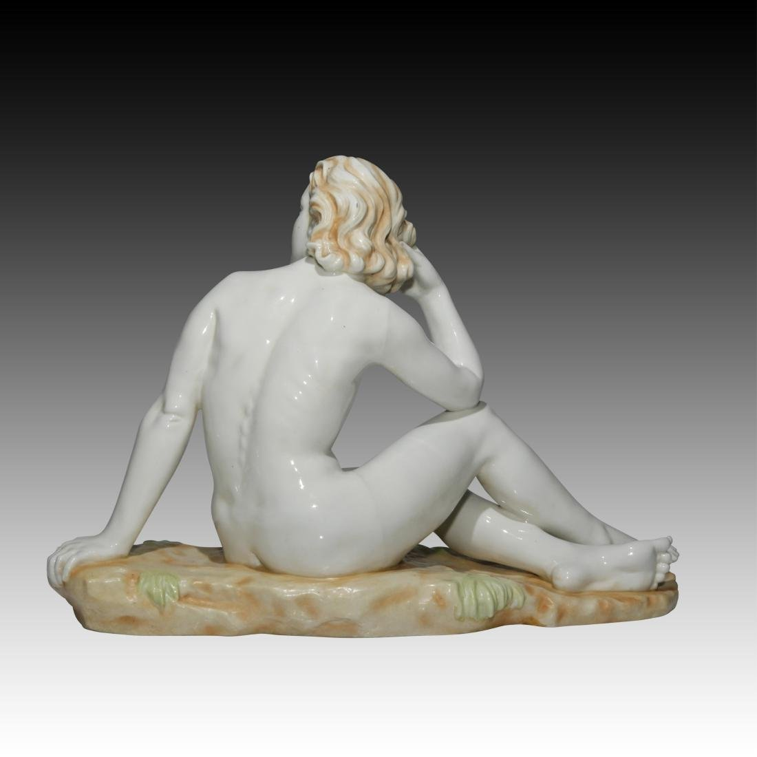 Nude Woman Sitting in a Field Figurine - 3