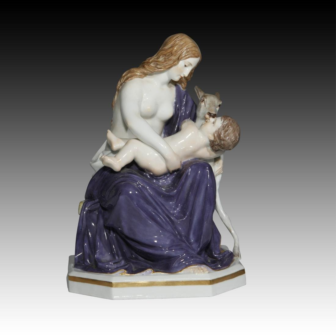 Meissen figurine of a Mother and Child with a Fawn