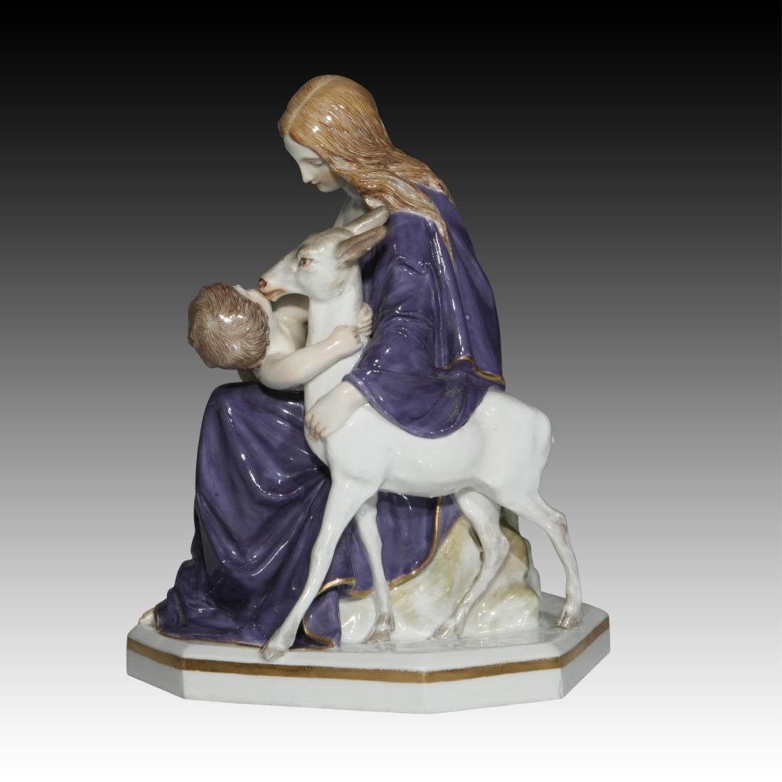 Meissen figurine of a Mother and Child with a Fawn - 2