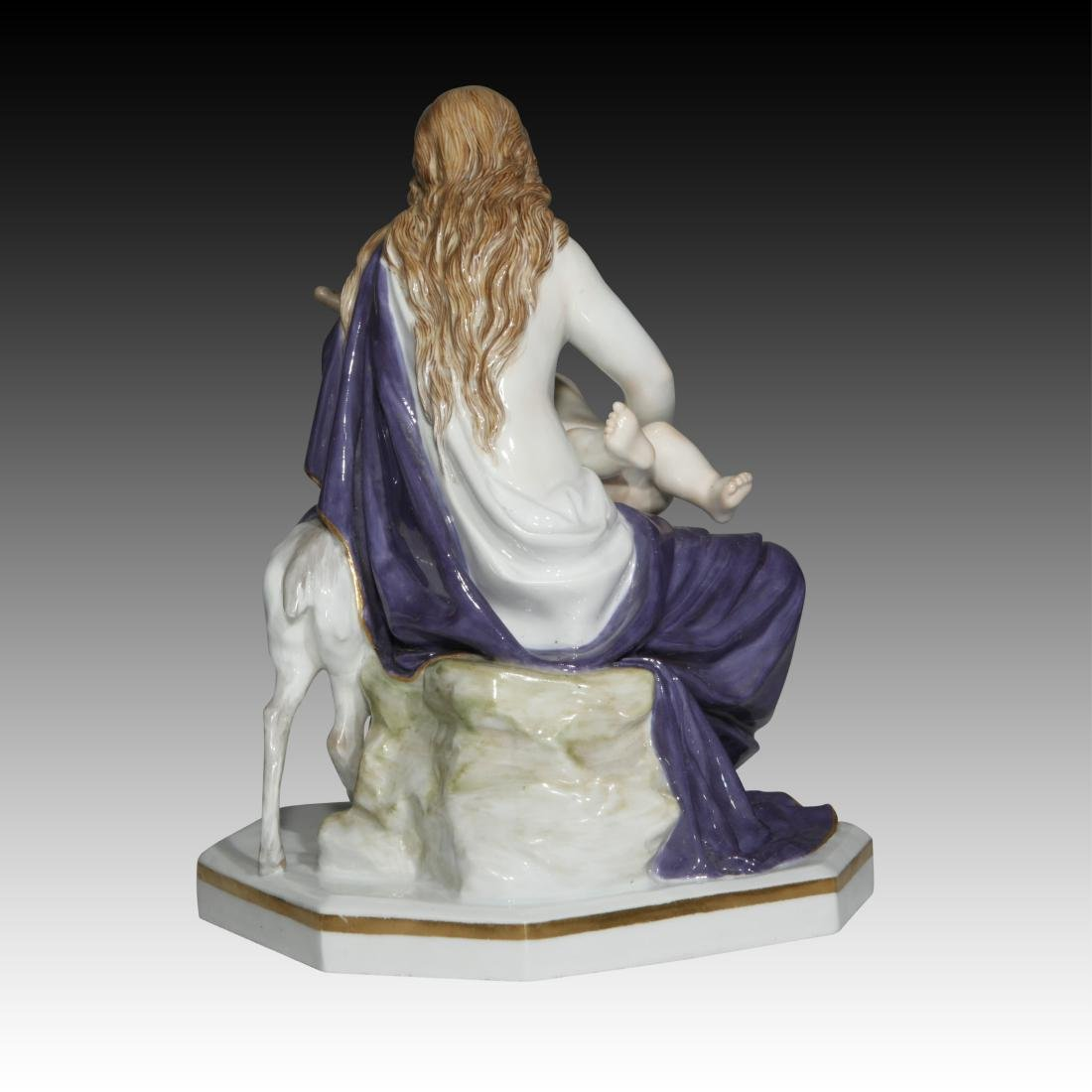 Meissen figurine of a Mother and Child with a Fawn - 3