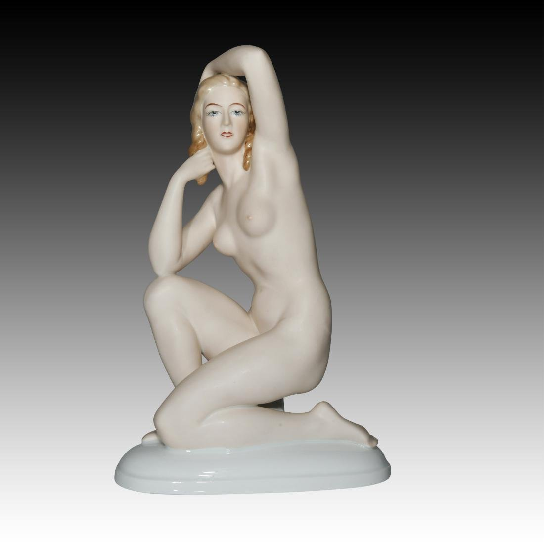 Gerold Porzellan Nude Woman on one knee Figurine