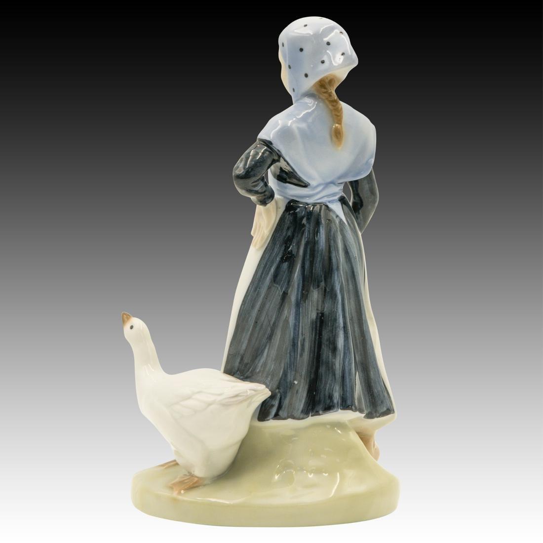 Royal Copenhagen Girl with Goose Figurine - 3