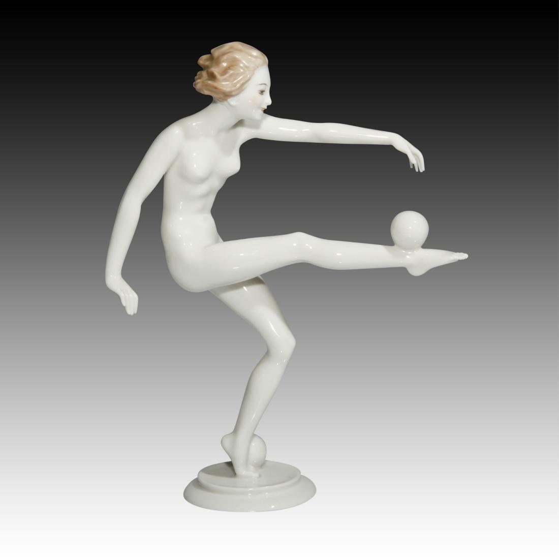 Hutschenreuther Girl Balancing a Ball Figurine