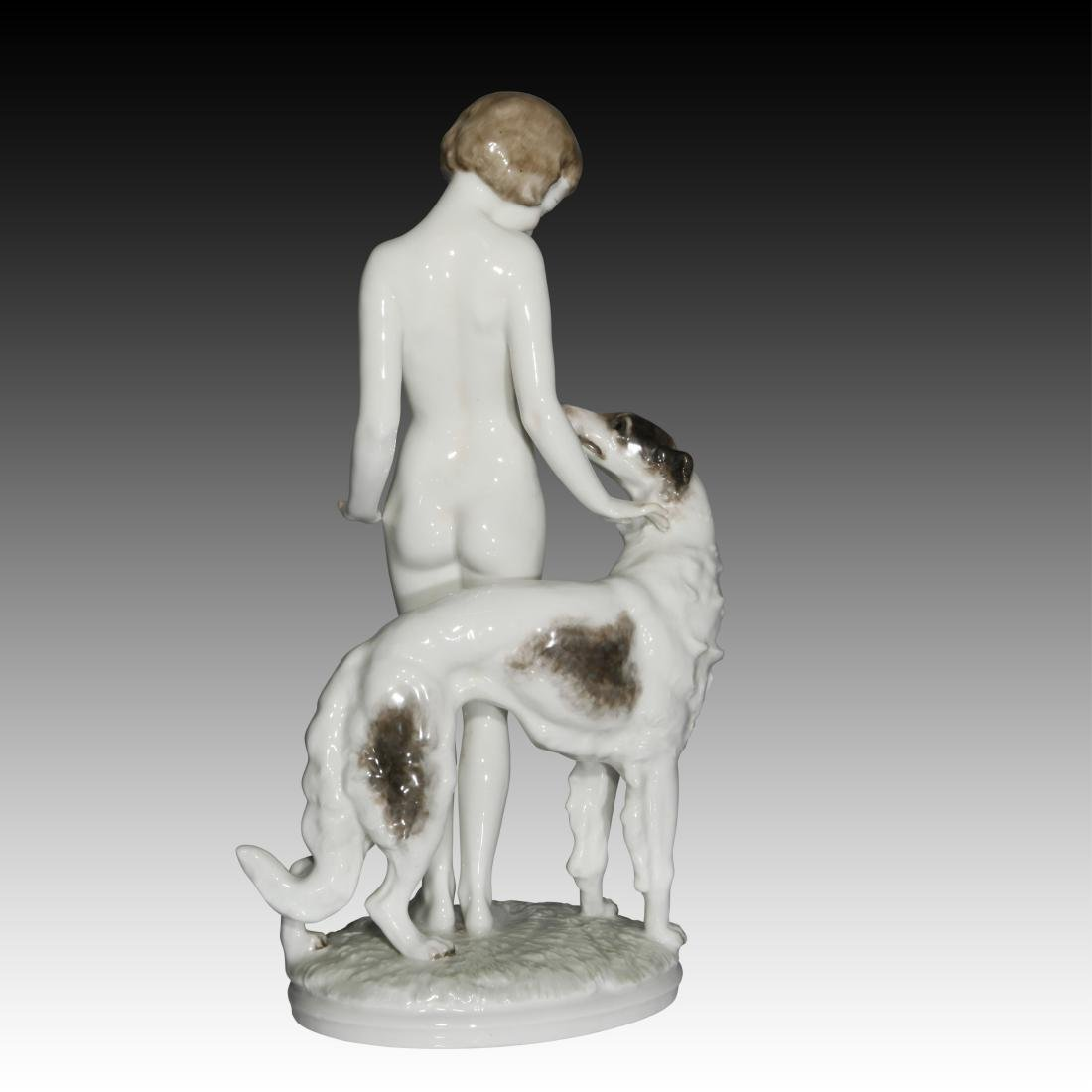 Hutschenreuther Girl with Borzoi Dog Figurine - 3