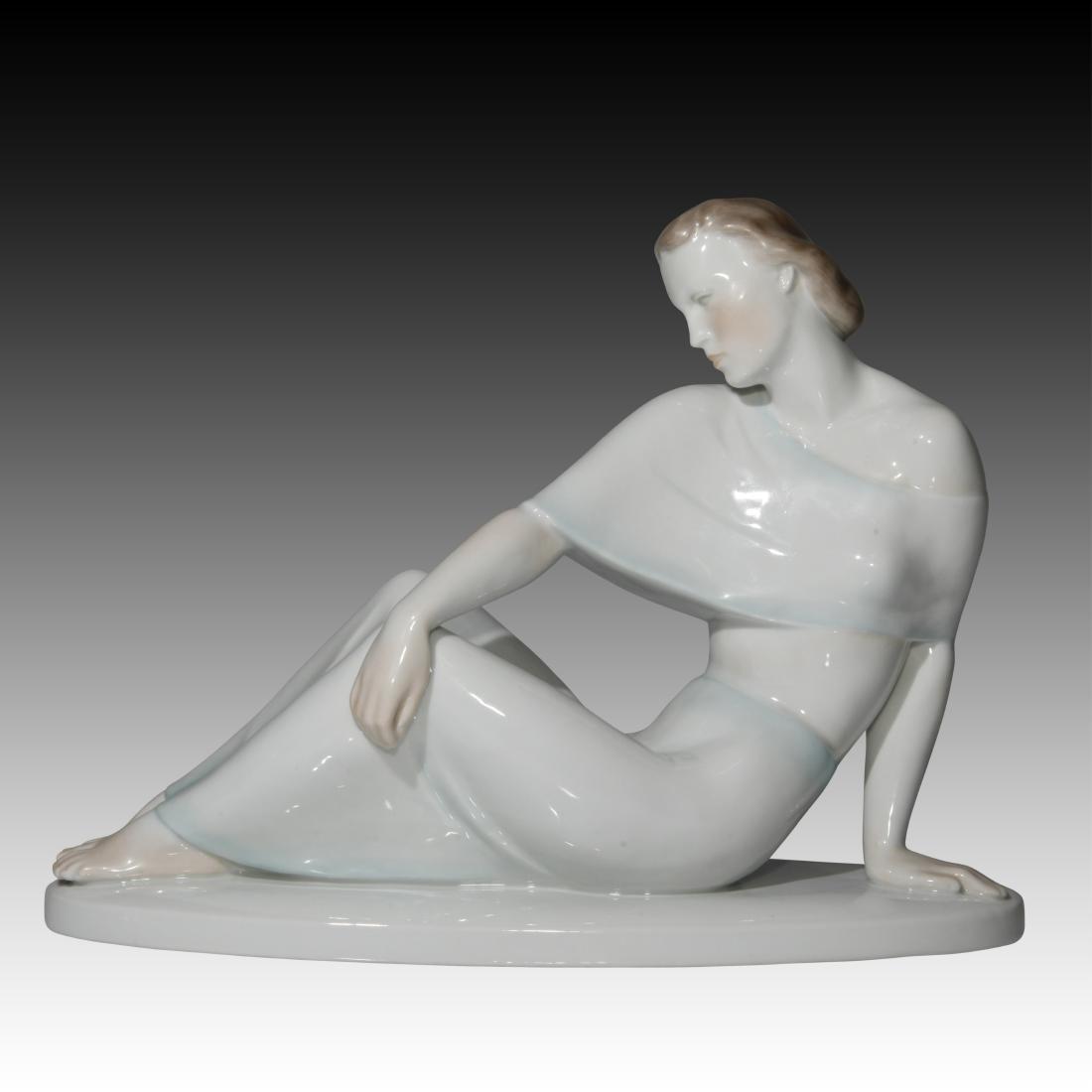 Herend Art Deco Figurine Reclining Woman