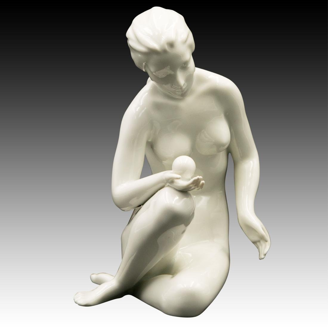 Royal Dux Nude Woman with a Ball Figurine
