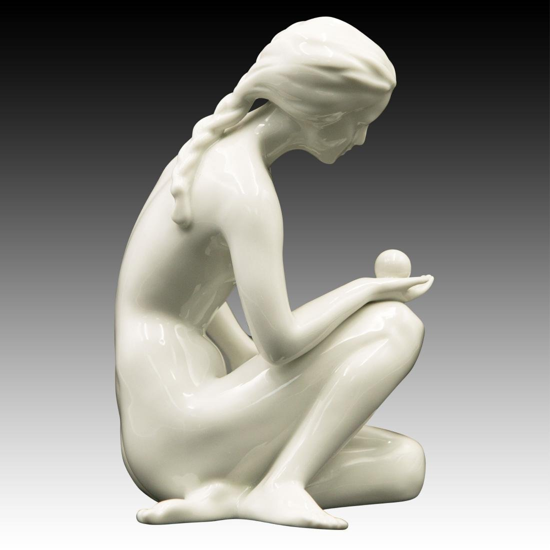Royal Dux Nude Woman with a Ball Figurine - 2