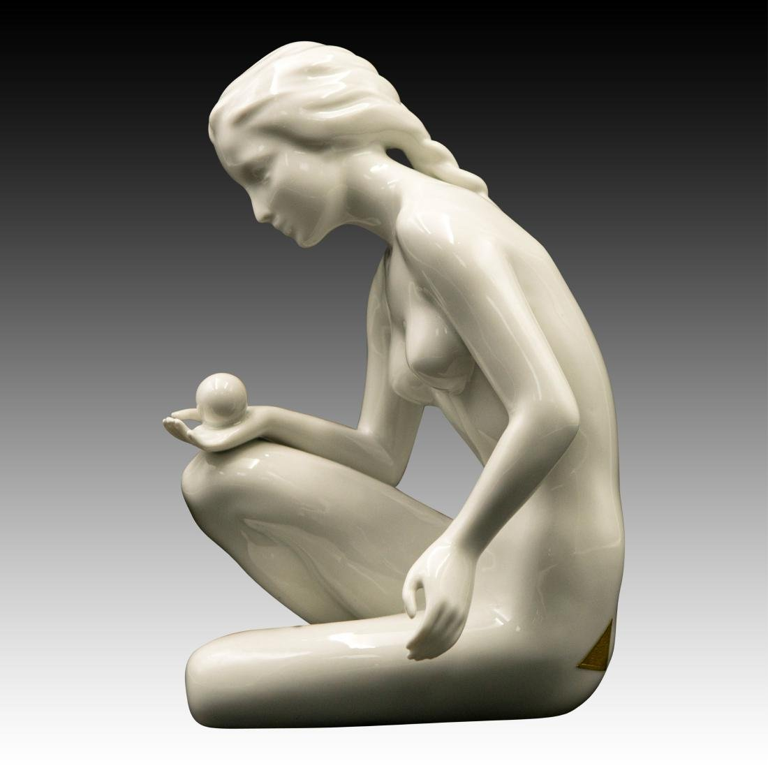 Royal Dux Nude Woman with a Ball Figurine - 4