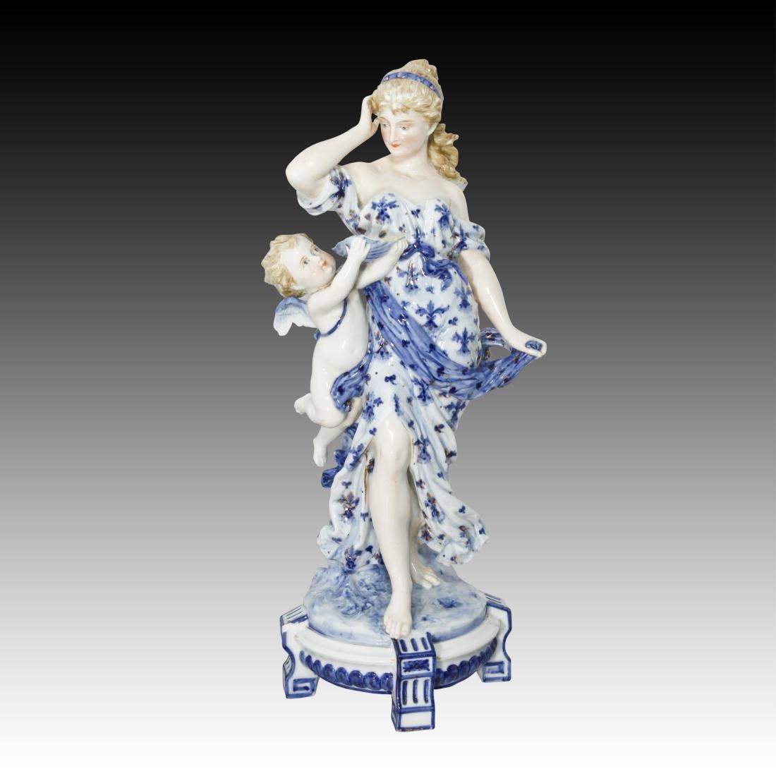 KPM Rubenesque Woman with Cherub Figurine 1049